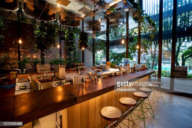 view inside a bar - no people - restaurant stock pictures, royalty-free photos & images