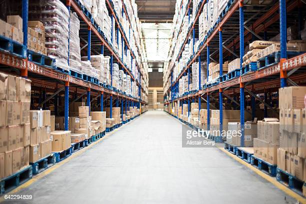 view inside a food distribution warehouse - warehouse stock pictures, royalty-free photos & images