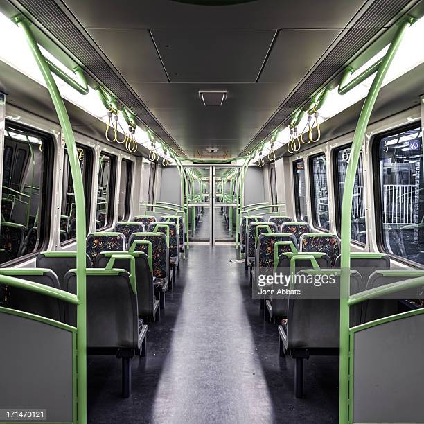 View Inside an Empty Passenger Train at Night