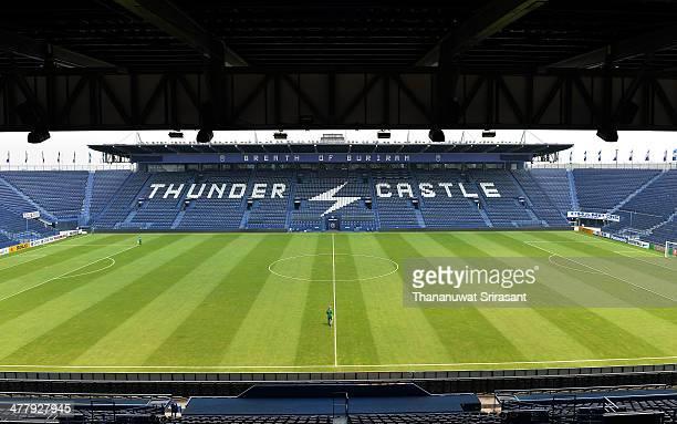 View inside Buriram Stadium during the AFC Champions League match between Buriram United and Pohang Steelers at Buriram Stadium on March 11, 2014 in...