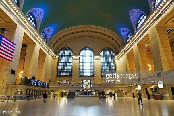 View inside Grand Central Terminal at rush hour during the coronavirus pandemic on April 14, 2020 in New York City. COVID-19 has spread to most...
