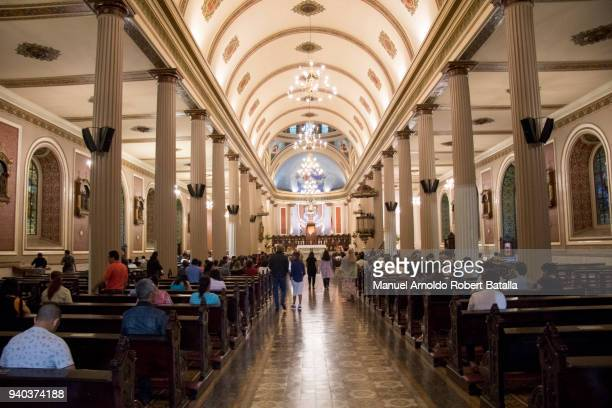 A view inside San Jose's Cathedral during the Washing of the Feet Mass as part of the Holy Week Celebration in Costa Rica on March 29 2018 in San...