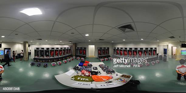 View inside the Chile dressing room before the 2014 FIFA World Cup Brazil Group B match between Chile v Australia at Arena Pantanal on June 13, 2014...