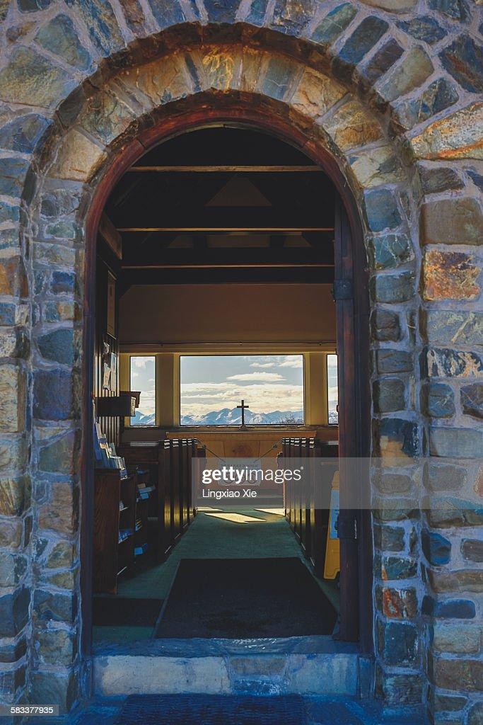 View inside the Church of Good Shepherd : Stock Photo