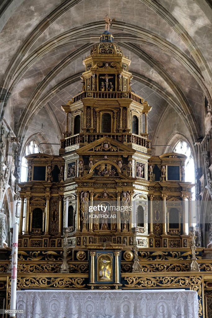 A view inside the church of San Giovanni in Saluzzo, in the... : News Photo