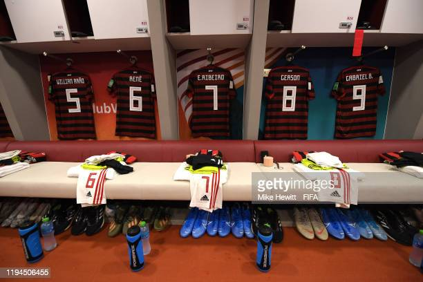 A view inside the CR Flamengo dressing room during the FIFA Club World Cup semifinal match between CR Flamengo and Al Hilal FC at Khalifa...