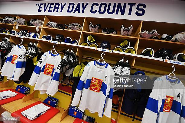 A view inside the dressing room of Finland during the World Cup of Hockey game between Finland and Sweden at the Hartwell Areena on September 8 2016...