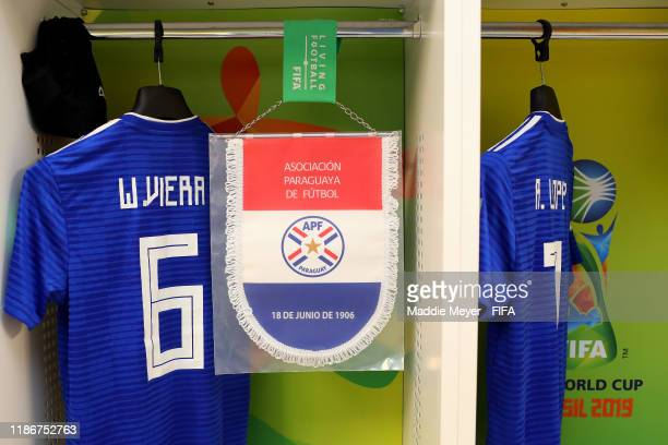 View inside the dressing room of Paraguay before the quarter-final match between Netherlands and Paraguay in the FIFA U-17 World Cup Brazil at...