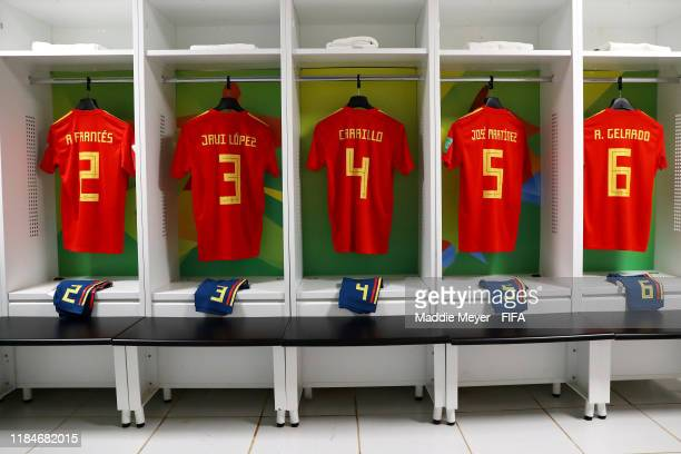 A view inside the dressing room of Spain before the FIFA U17 World Cup Brazil 2019 group E match between Spain and Tajikistan at Estádio Kléber...