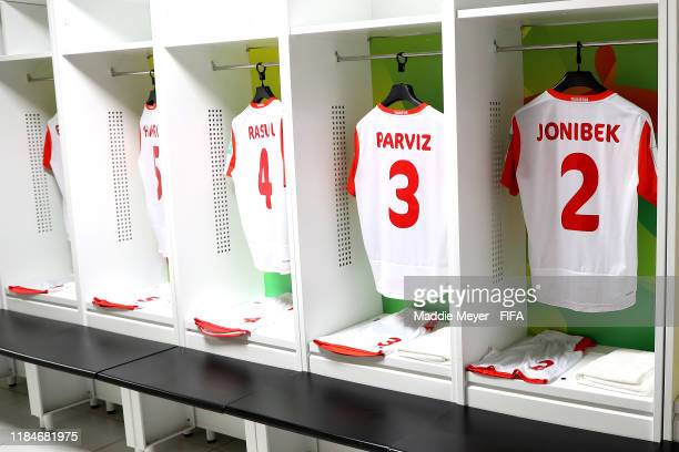 A view inside the dressing room of Tajikistan before the FIFA U17 World Cup Brazil 2019 group E match between Spain and Tajikistan at Estádio Kléber...