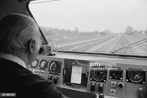 View inside the driver's cab of a British Rail class 253 Inter City 125 high speed train travelling on the Great Western main line from London...
