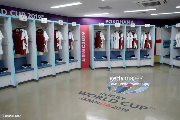 A view inside the England dressing room prior to the Rugby World Cup 2019 SemiFinal match between England and New Zealand at International Stadium...