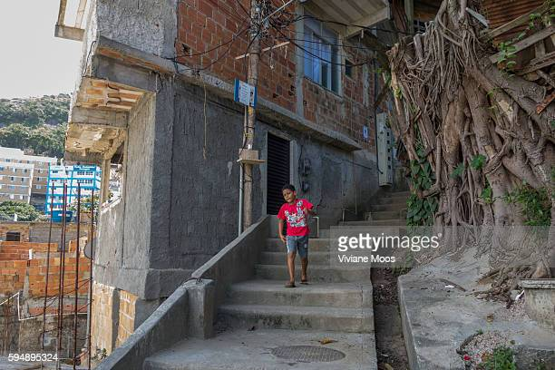 View inside the Favela Cantagalo at the steep cement steps leading up the hillside the favela is built on