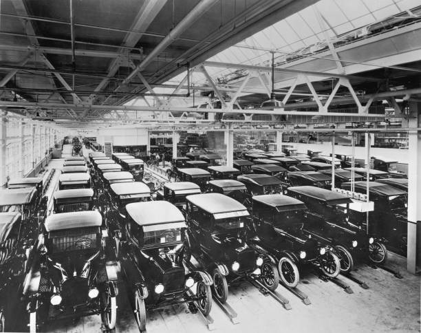 A view inside the Ford Motor Company factory with rows...