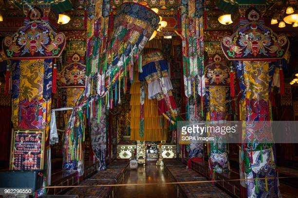 View inside the Ganden Sumtsenling Monastery.
