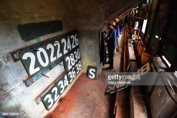 A view inside the Green Monster before the Boston Red Sox game against the Baltimore Orioles at Fenway Park on April 12 2017 in Boston Massachusetts