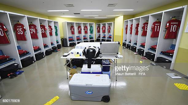 A view inside the Kashima Antler's dressing room before the FIFA Club World Cup final match between Real Madrid and Kashima Antlers at International...