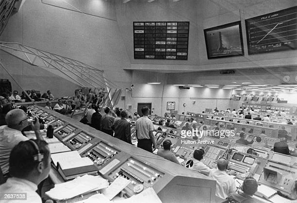 A view inside the launch control centre at Kennedy Space Centre during Apollo XII launch