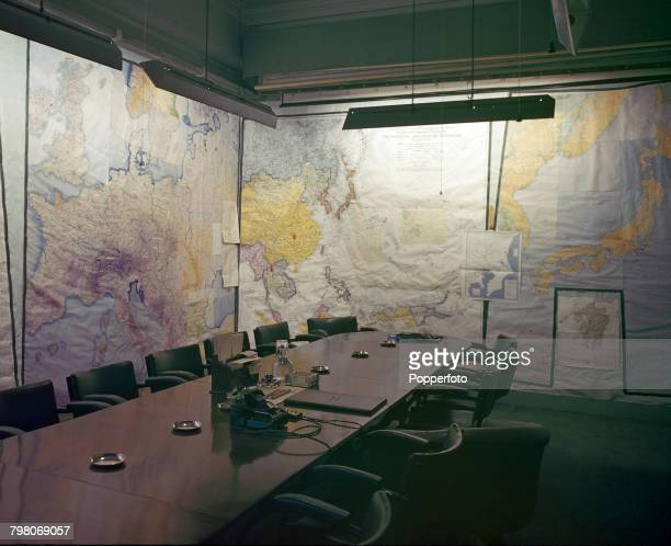 View inside the Map Room, used for military planning and strategy during World War II, part of the Cabinet War Rooms, now known as Churchill War...