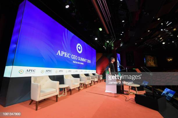 A view inside the Marquee theatre onboard PO's Pacific Explorer cruise ship the venue for the APEC CEO summit to be held this week as part of APEC...