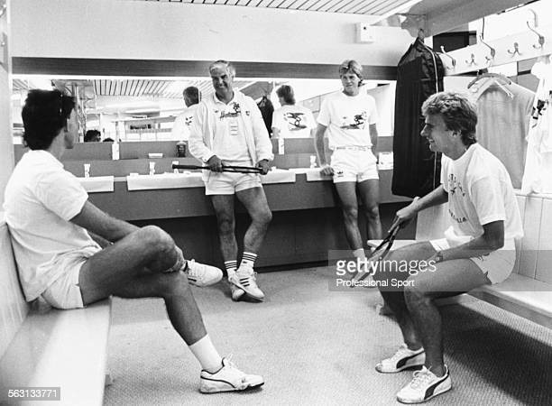 View inside the men's dressing rooms during Wimbledon Tennis Championships with from left to right Jeremy Bates coach Tony Pickard Stefan Edberg and...