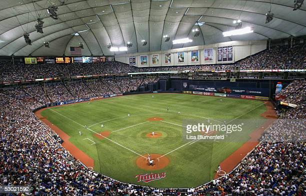 A view inside the Metrodome during the Minnesota Twins game against the New York Yankees on June 4 2005 in Minneapolis Minnesota The Yankees won the...