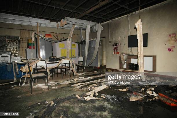View inside the municipal daycare centre where a watchman sprayed children with alcohol and set them on fire in Janauba Minas Gerais State on October...