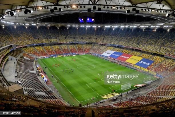 View inside the National Arena Stadium during the FIFA World Cup Qatar 2022 qualification football match Romania v North Macedonia in Bucharest, on...