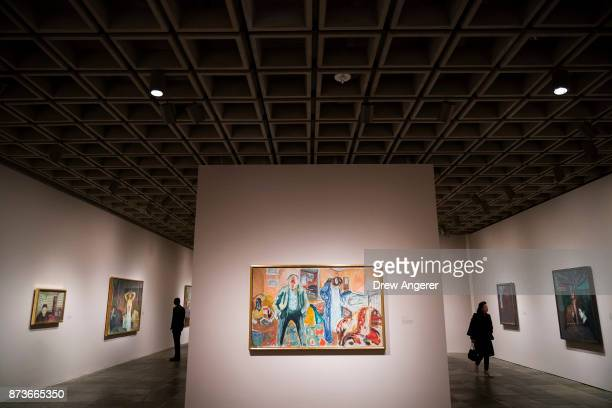A view inside the new Edward Munch exhibition titled Between The Clock and The Bed at the Met Breuer November 13 2017 in New York City The exhibit...