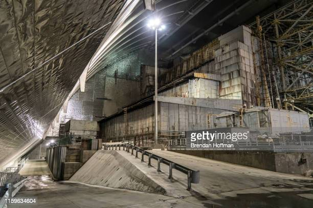 A view inside the 'New Safe Confinement' of the old sarcophagus entombing the destroyed reactor number four at the Chernobyl Nuclear Power Plant on...