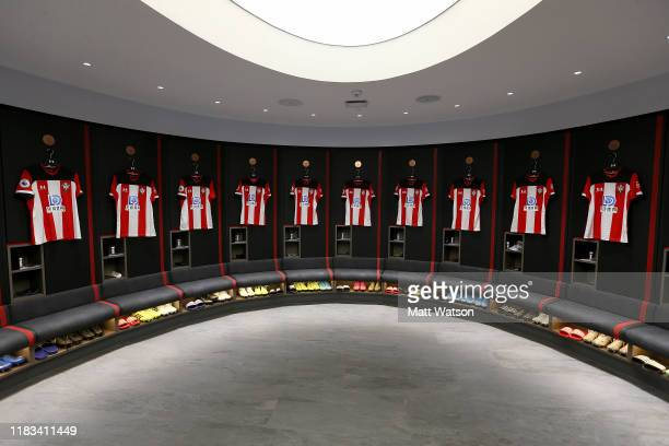A view inside the Southampton FC dressing room ahead of the Premier League match between Southampton FC and Leicester City at St Mary's Stadium on...