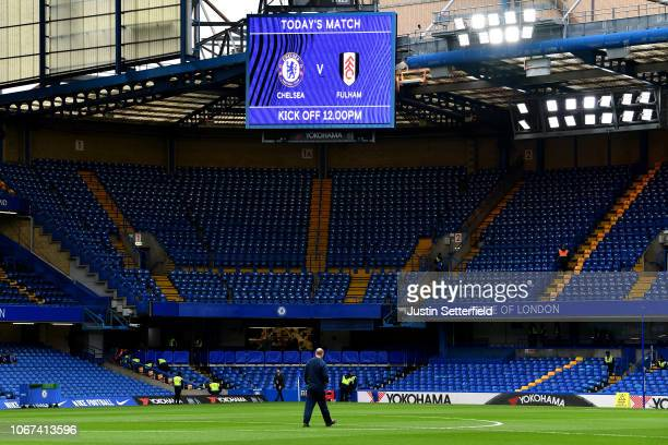A view inside the stadium ahead of the Premier League match between Chelsea FC and Fulham FC at Stamford Bridge on December 2 2018 in London United...