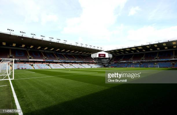 View inside the stadium ahead of the Premier League match between Burnley FC and Manchester City at Turf Moor on April 28, 2019 in Burnley, United...