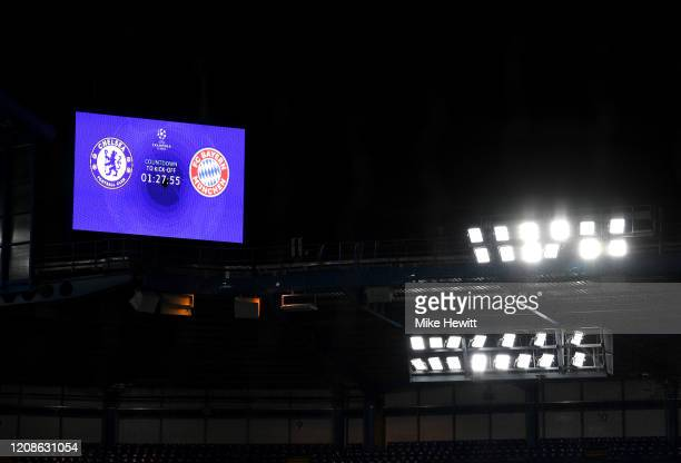A view inside the stadium as the big screen shows the countdown until kick off prior to the UEFA Champions League round of 16 first leg match between...