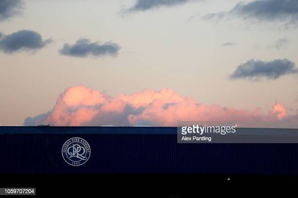 A view inside the stadium as the sun sets prior to the Sky Bet Championship match between Queens Park Rangers and Aston Villa at Loftus Road on...