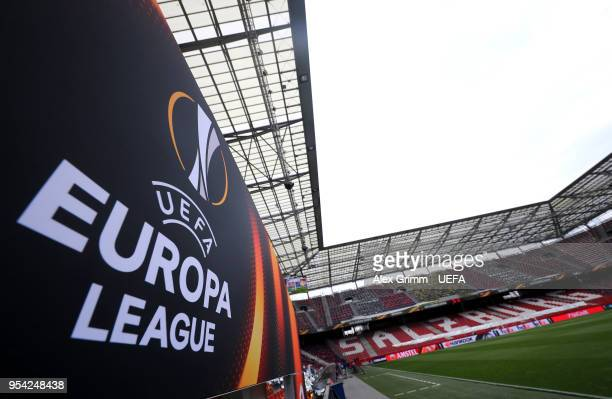 A view inside the stadium prior to the UEFA Europa Semi Final Second leg match between FC Red Bull Salzburg and Olympique de Marseille at Red Bull...