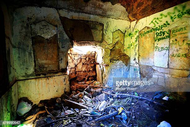 View inside the tower in honour to German Kaiser Bismarck at Cerro Caracol in Concepcion host city of 2015 Copa America Chile on June 29 2015 in...