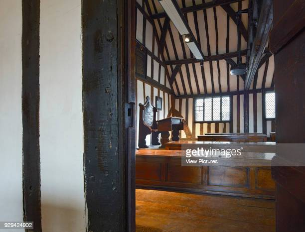 View into classroom with teacher's desk and wooden chests Shakespeare's Schoolroom StratforduponAvon United Kingdom Architect Wright Wright...