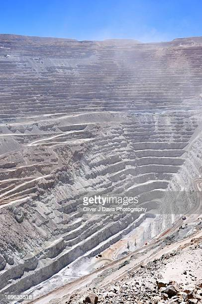 View into deep pit of an open-pit (opencast) mine