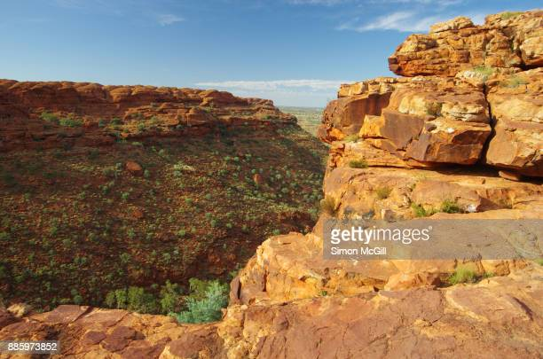 View into Kings Canyon from a clifftop on the Rim Walk at Kings Canyon, Watarrka National Park, Northern Territory, Australia