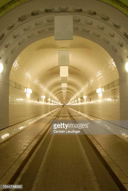 View into old Elbtunnel at Hamburg Harbour, Hamburg, Germany
