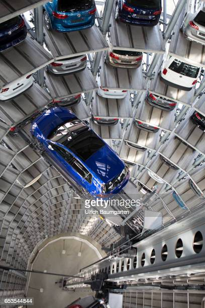 View into one of two car towers of Volkswagen AG in the VW Autostadt in Wolfsburg The highrack bearings function fully automatic and completely...