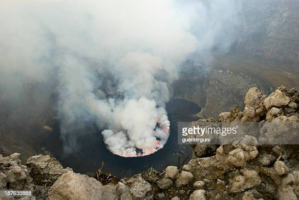 view into the heart of earth - nyiragongo vulcano, congo - virunga national park stock pictures, royalty-free photos & images