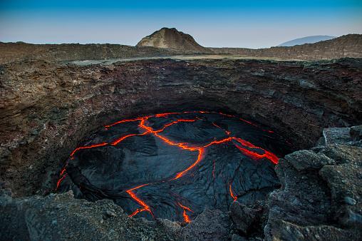 View into the lava lake of Erta Ale volcano, Ethiopia 639949018
