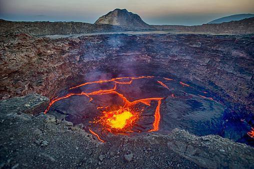 View into the lava lake of Erta Ale volcano, Ethiopia 970176090
