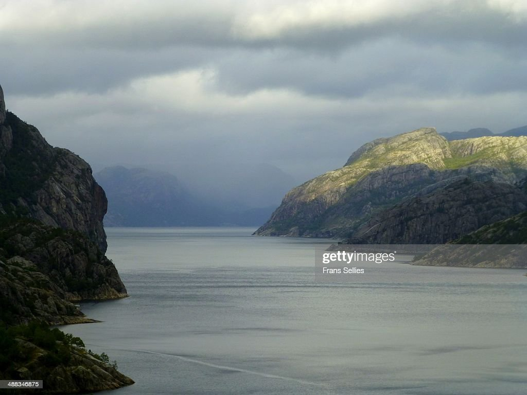 View into the Lysefjord in Norway : Stockfoto
