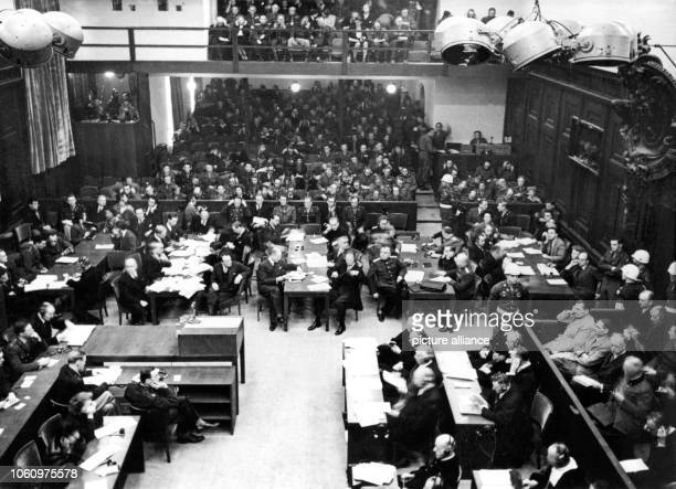 View into the Nuremberg Palace of Justice during the opening of the Trial of the Major War Criminals before the International Military Court on 20...