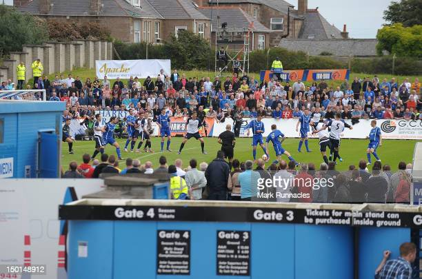 A view into the stadium during the Peterhead and Glasgow Rangers IRNBRU Scottish Third Division match on August 11 2012 in Peterhead Scotland