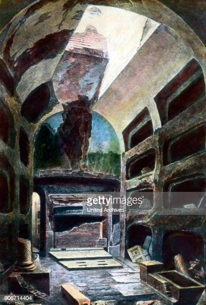 View into the tomb of one of the first popes of Christianity alongside the Via Appia Antica at Rome Italy 1920s