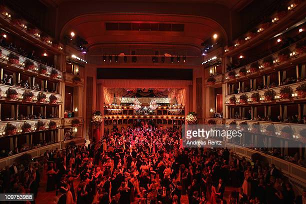 A view is pictured of the traditional Vienna Opera Ball at the state opera on March 3 2011 in Vienna Austria